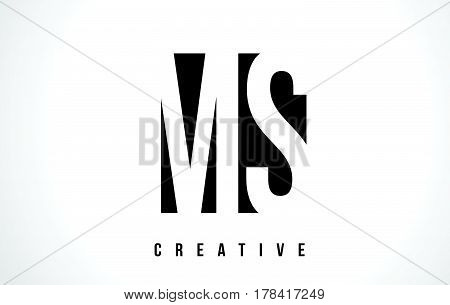 Ms M S White Letter Logo Design With Black Square.