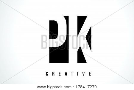 Pk P K White Letter Logo Design With Black Square.