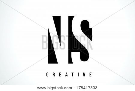 Ns N S White Letter Logo Design With Black Square.