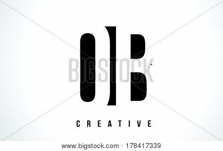 Ob O B White Letter Logo Design With Black Square.