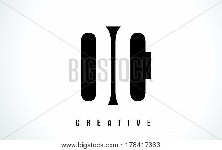 Oc O C White Letter Logo Design With Black Square.