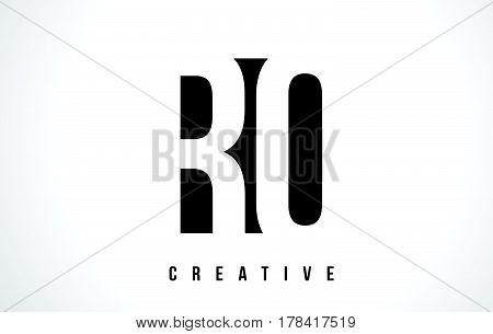 Ro R O White Letter Logo Design With Black Square.