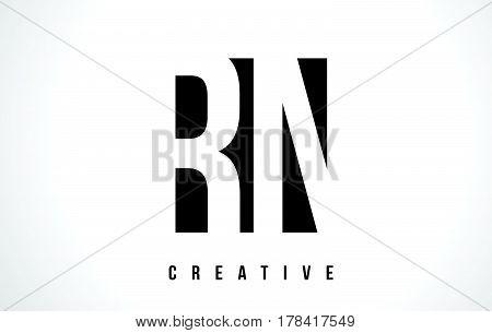 Rn R N White Letter Logo Design With Black Square.
