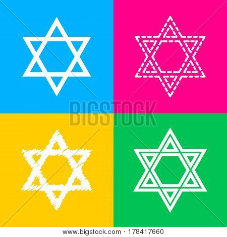 Shield Magen David Star. Symbol of Israel. Four styles of icon on four color squares.