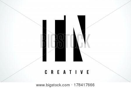Tn T N White Letter Logo Design With Black Square.