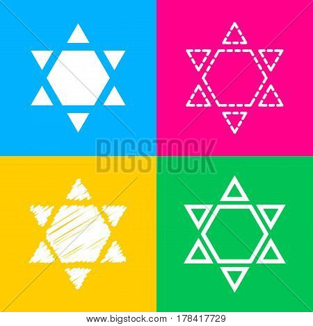 Shield Magen David Star Inverse. Symbol of Israel inverted. Four styles of icon on four color squares.