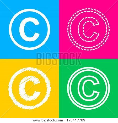 Copyright sign illustration. Four styles of icon on four color squares.