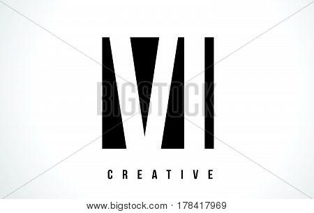 Vi V I White Letter Logo Design With Black Square.