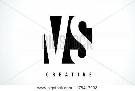Vs V S White Letter Logo Design With Black Square.