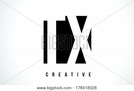 Tx T X White Letter Logo Design With Black Square.