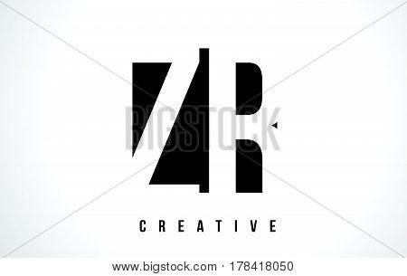 Zr Z R White Letter Logo Design With Black Square.