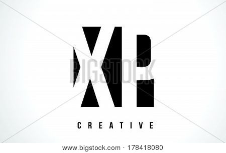 Xp X P White Letter Logo Design With Black Square.
