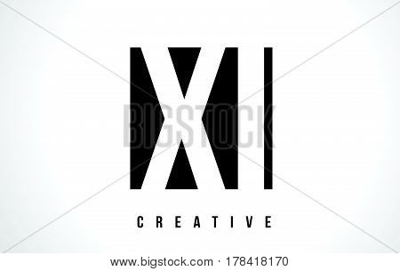 Xi X I White Letter Logo Design With Black Square.