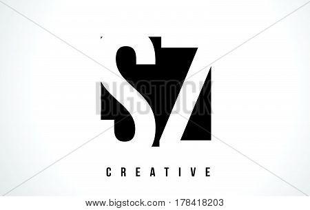 Sz S Z White Letter Logo Design With Black Square.
