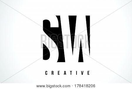 Sw S W White Letter Logo Design With Black Square.