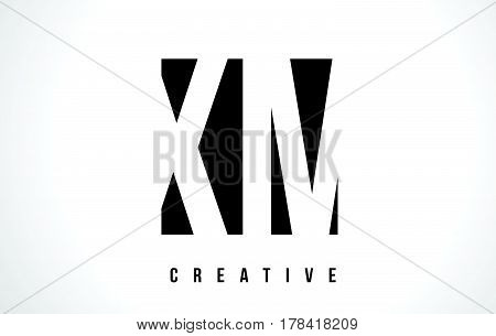Xm X M White Letter Logo Design With Black Square.