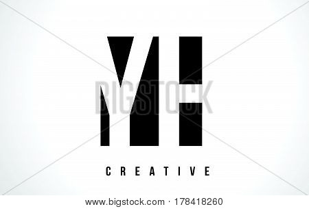 Yh Y H White Letter Logo Design With Black Square.