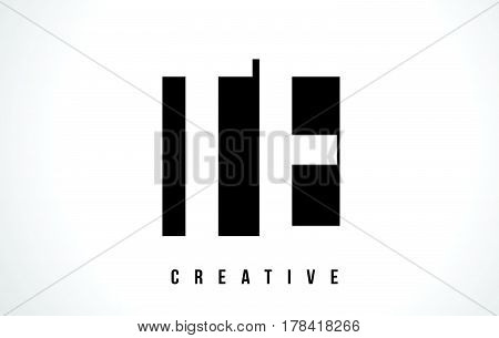 Te T E White Letter Logo Design With Black Square.