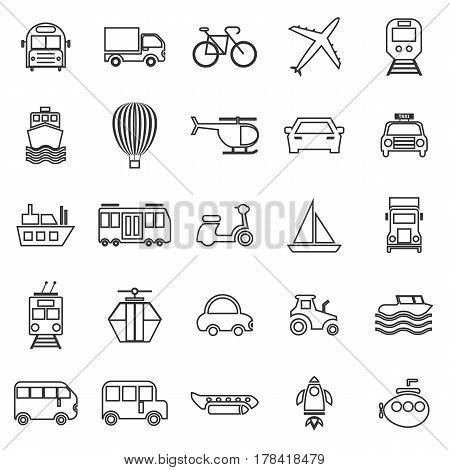 Transportation line icons on white background, stock vector