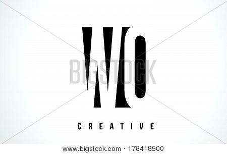 Wo W O White Letter Logo Design With Black Square.
