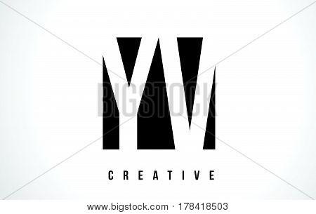 Yv Y V White Letter Logo Design With Black Square.