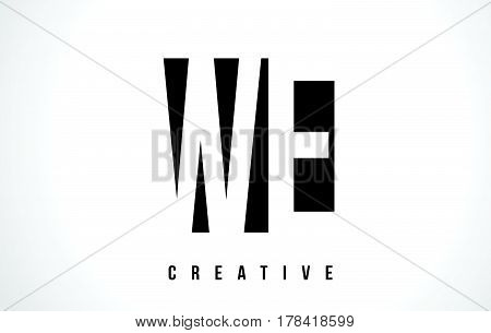 We W E White Letter Logo Design With Black Square.