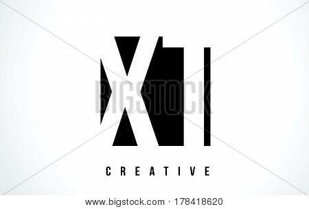 Xt X T White Letter Logo Design With Black Square.