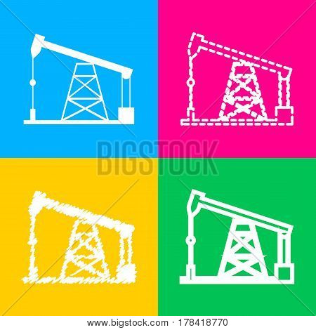 Oil drilling rig sign. Four styles of icon on four color squares.