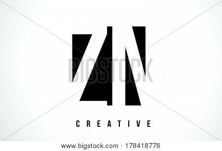 Zn Z N White Letter Logo Design With Black Square.