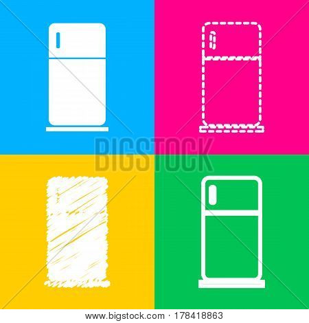 Refrigerator sign illustration. Four styles of icon on four color squares.