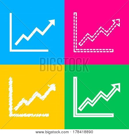 Growing bars graphic sign. Four styles of icon on four color squares.
