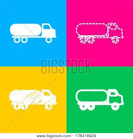Car transports sign. Four styles of icon on four color squares.