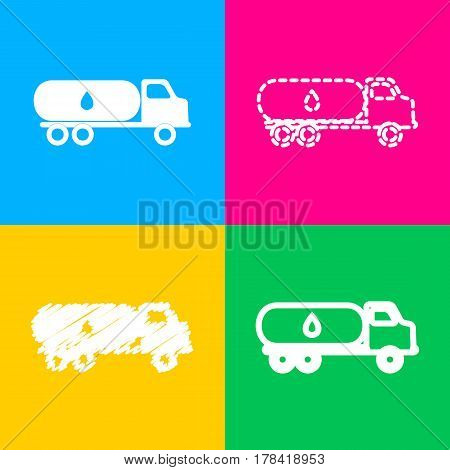 Car transports Oil sign. Four styles of icon on four color squares.
