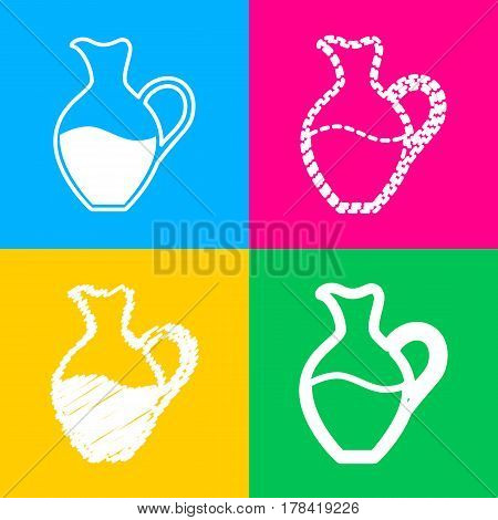 Amphora sign. Four styles of icon on four color squares.