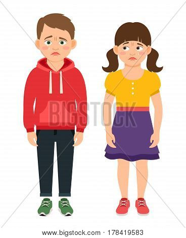 Crying kids characters vector illustration. Sad and frustrated children with tear stained eyes
