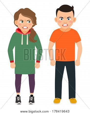 Arguing brother and sister characters vector illustration. Angry kids isolated on white background