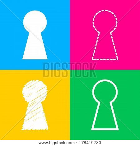 Keyhole sign illustration. Four styles of icon on four color squares.