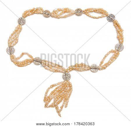 Elegant necklace isolated on white background