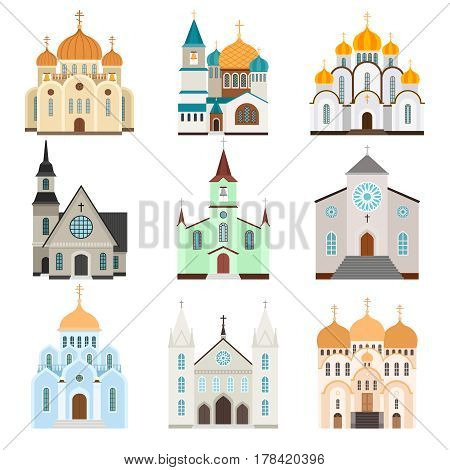 Sanctuary building icons. Christian basilica and church flat icons, vector illustration