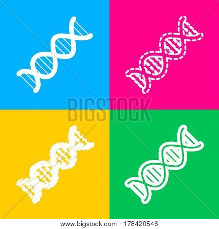 The DNA sign. Four styles of icon on four color squares.