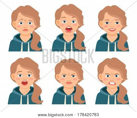 Little kid girl face expressions isolated on white background. Frowning and frightened, afraid and angry girls cartoon emotions. Vector illustration