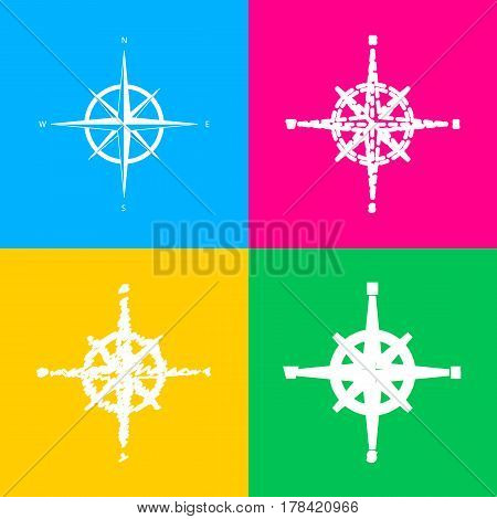 Wind rose sign. Four styles of icon on four color squares.