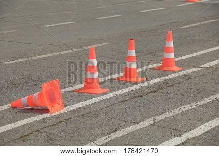 bright orange traffic cones