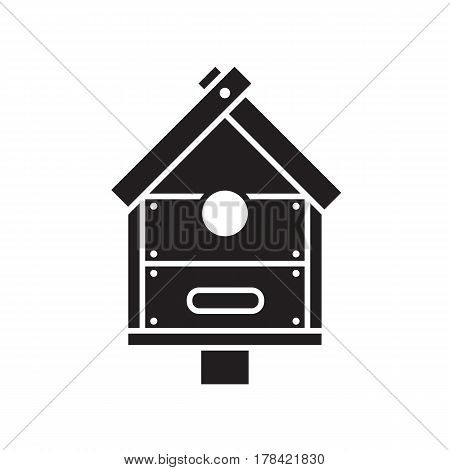 Nesting box silhouette vector illustration. Wooden bird house icon in outline design.