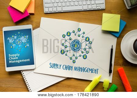 Scm Supply Chain Management Concept Modern People Doing Business, Graphs And Charts Being Demonstrat