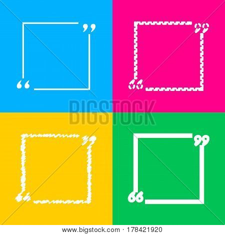 Text quote sign. Four styles of icon on four color squares.