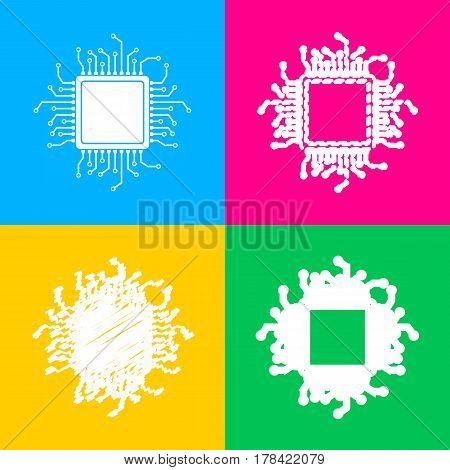 CPU Microprocessor illustration. Four styles of icon on four color squares.