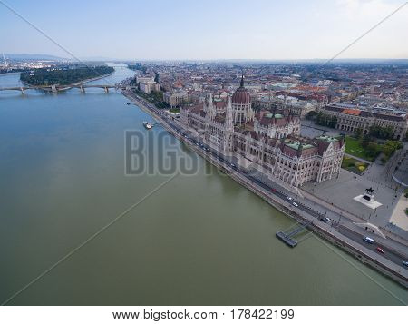Aerial view of Parliament building in Budapest, Hungary.