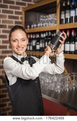 Beautiful barmaid shaking up a cocktail