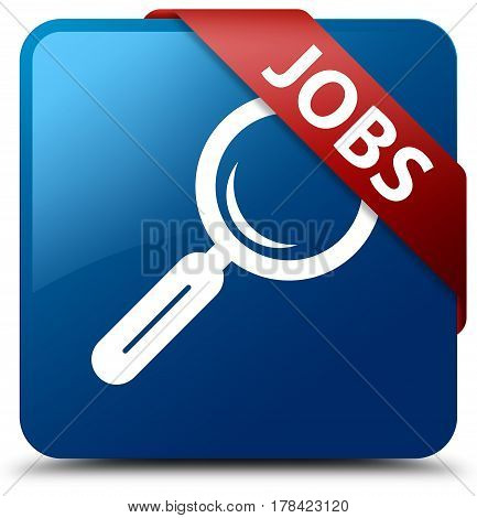 Jobs Blue Square Button Red Ribbon In Corner